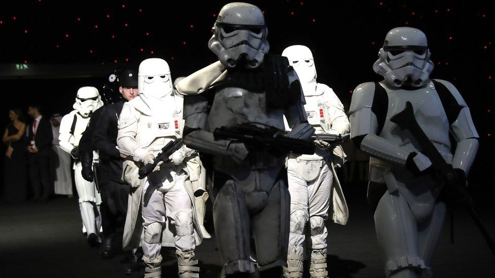A general view of Stormtoopers at the 'Star Wars: The Last Jedi' Closing Night Gala on day eight of the 14th annual Dubai International Film Festival held at the Madinat Jumeriah Complex on December 13, 2017 in Dubai, United Arab Emirates