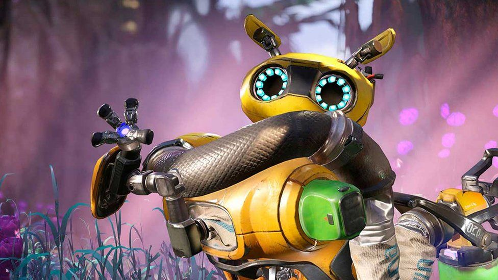One of Crucible's characters, a yellow robot with a friendly appearance, waves in this game screenshot