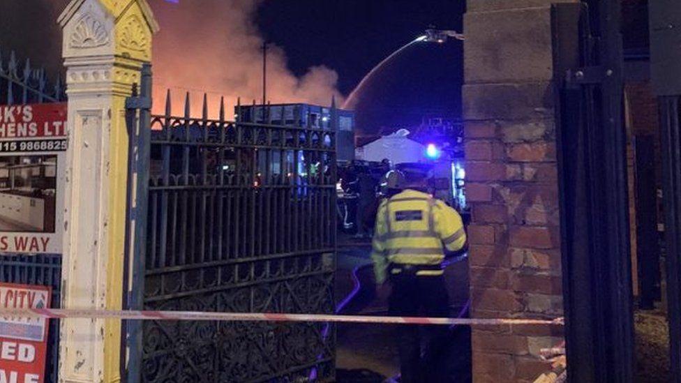 Nottingham Cattle Market fire off Meadow Lane, Nottingham