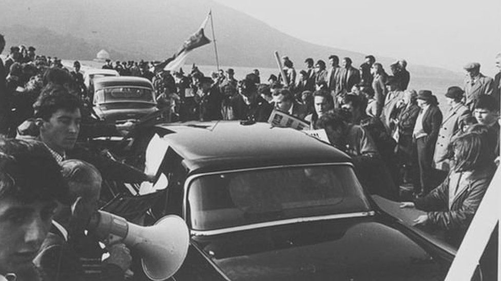 Protests on the day of the official opening of the dam on 21 October 1965