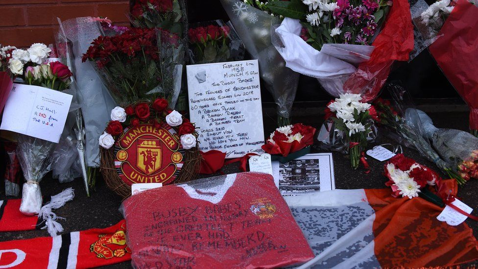 Tributes outside Old Trafford