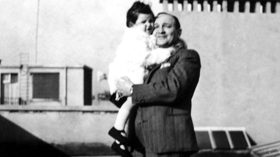 Anita and her father Stanislas Zusman, winter 1939 Geneva