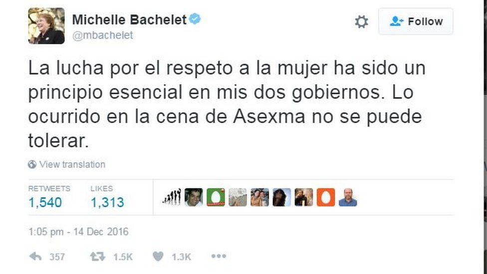 """Tweet by Michelle Bachelet reading: """"The fight for respect for women has been a key principle of my two terms in office. What happened at the Asexma dinner can't be tolerated."""""""