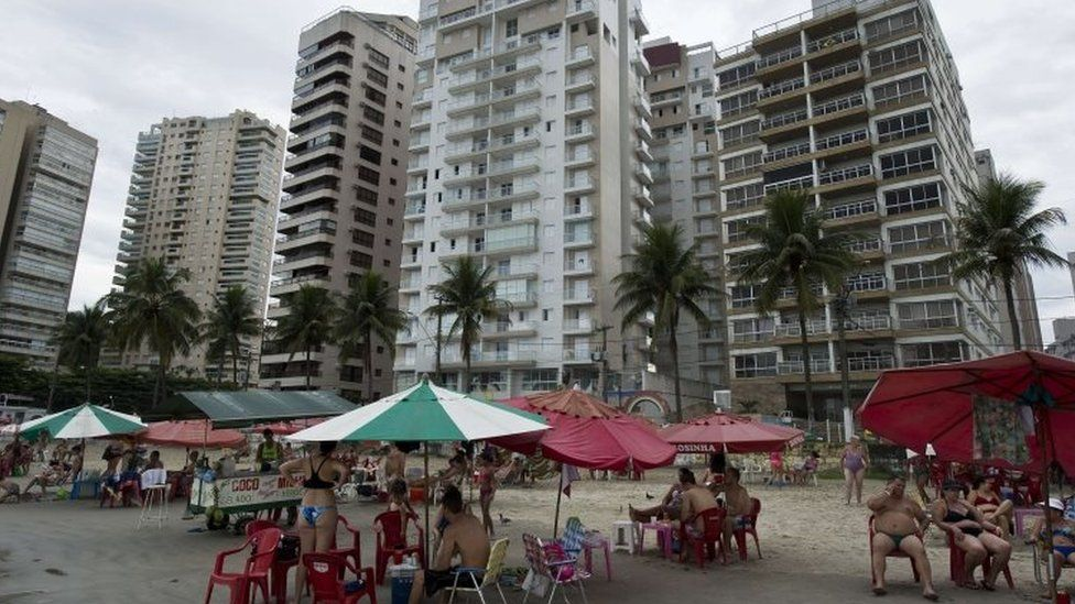 A view of the seaside complex (centre) where Mr Lula allegedly has an apartment. Photo: 10 March 2016