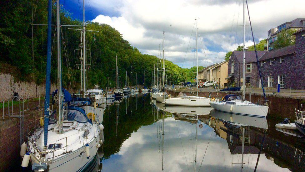 The marina of Y Felinheli, near Caernarfon