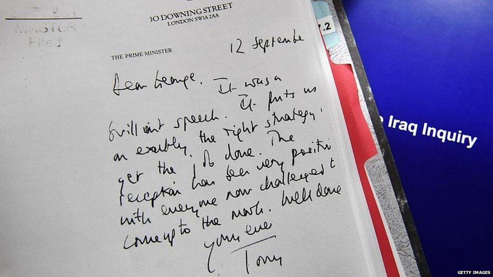 Letter written by Tony Blair to George W Bush released as part of the Iraq Inquiry report