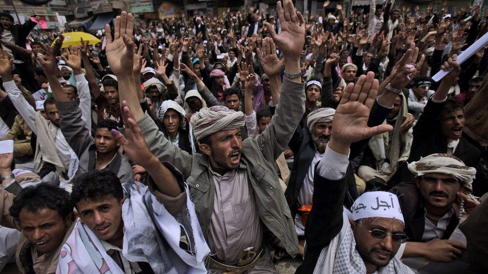 Anti-government protestors at a demonstration in Sanaa, March 2011