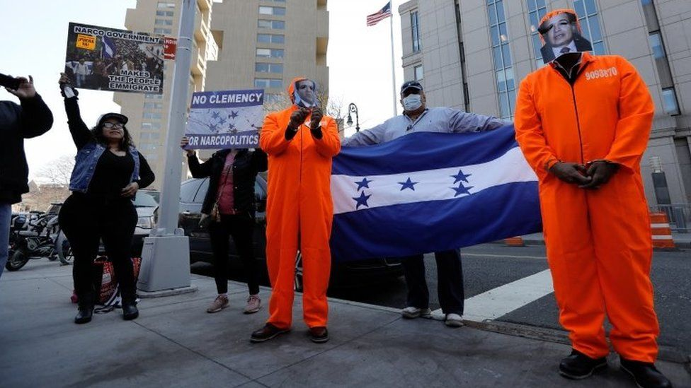 "Supporters of Justice for Honduras gather outside Federal Court in New York, USA, 30 March 2021. Former Honduran congressman Juan Antonio ""Tony"" Hernandez, brother of the Honduran President Hernandez, will be sentenced for participating in a conspiracy to traffic cocaine to the United States that involved use of machine guns. He was convicted in October 2019."