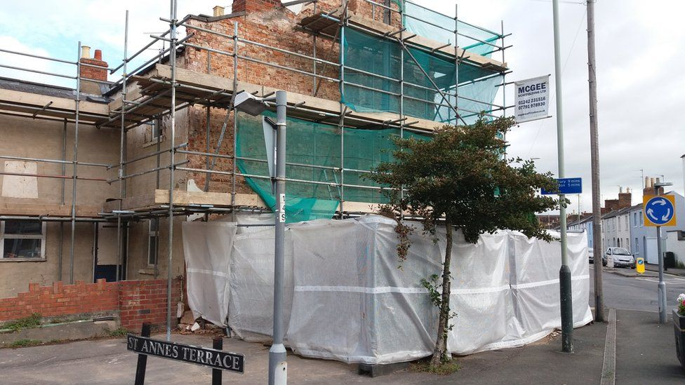 House in Cheltenham where Banksy artwork was