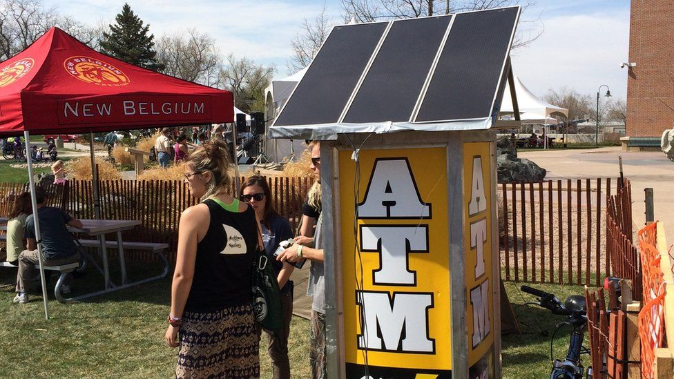 Solar-powered ATM at Earth Day festival