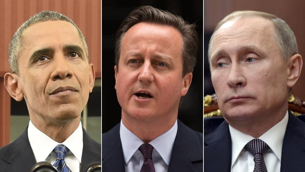 Obama, Cameron, Putin