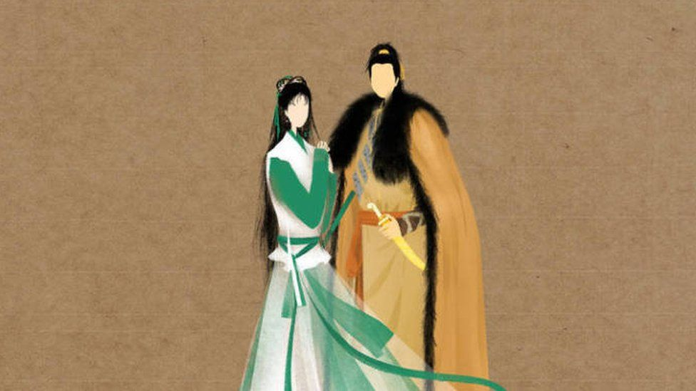 An illustration showing two main characters from the Return of the Condor Heroes, the second novel in the trilogy