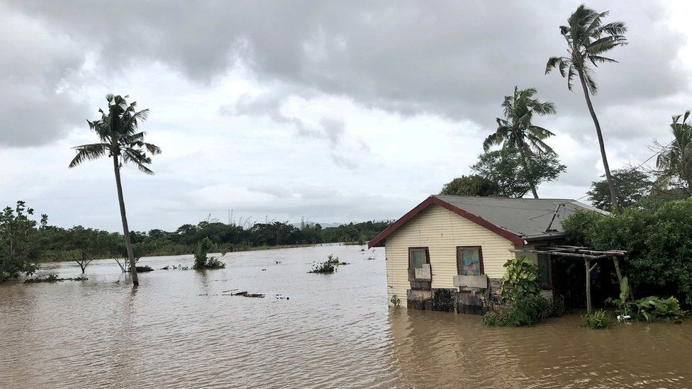 Flooding caused by Cyclone Josie in Nailaga Village, Ba, Fiji, 1 April 2018