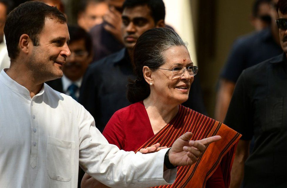 Indian Congress party senior leader Sonia Gandhi with her son Congress party president Rahul Gandhi after filing her nomination papers for the general election in Rae Bareilly on April 11, 2019