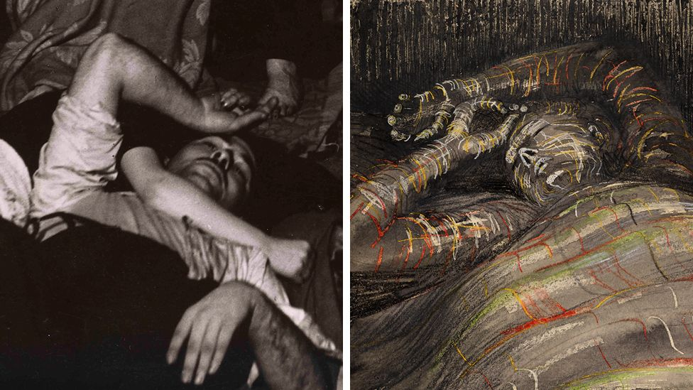 A photograph and a drawing of people sleeping in underground Blitz shelters