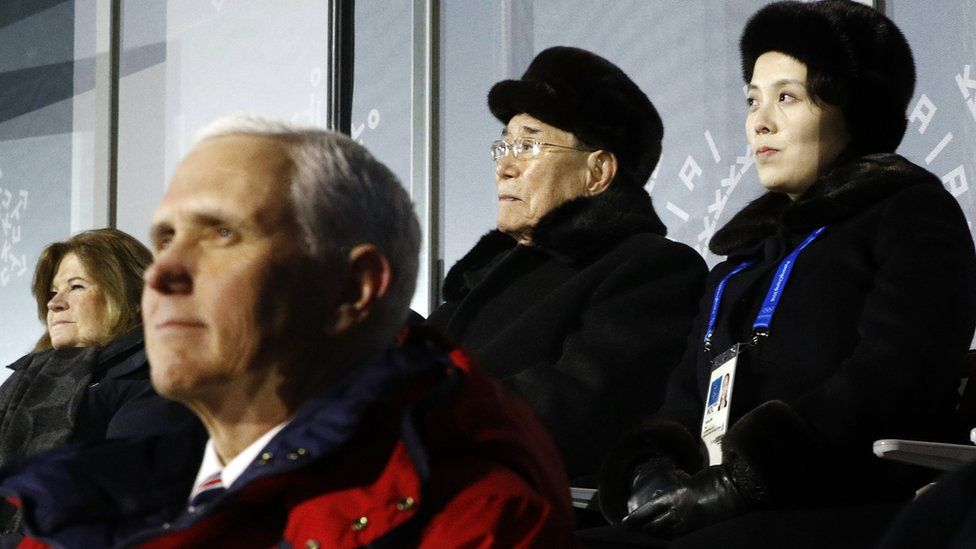 US Vice-President Mike Pence in front of North Korea's Kim Yong-nam (C) and Kim Yo-jong (R)