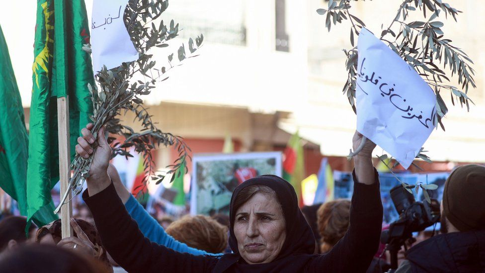 Syrian Kurdish woman holds up olive branches at a protest