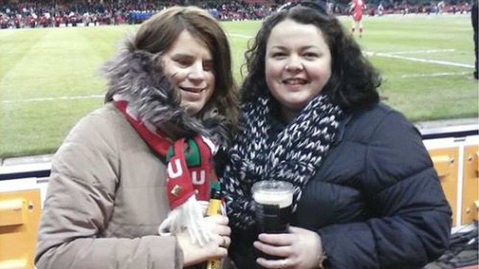 Ffion and her friend at a Wales game
