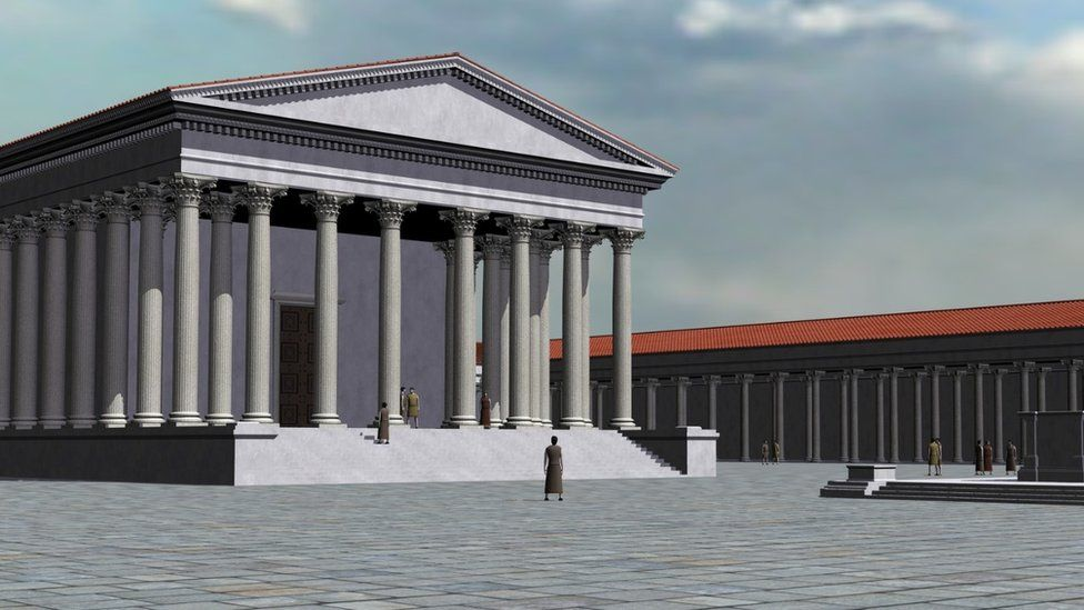 Computer generated artist's impression of the Roman temple