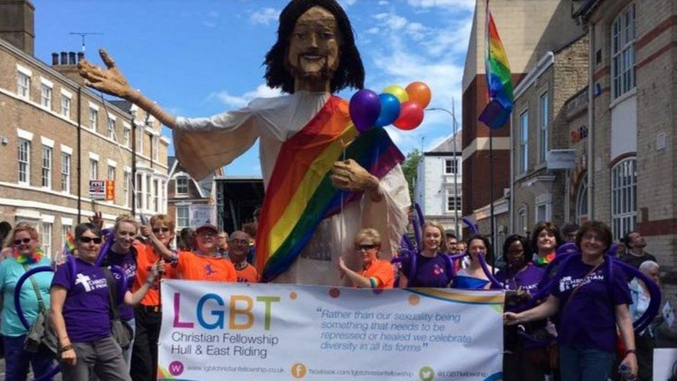 Large statue of Jesus at Pride event in Hull