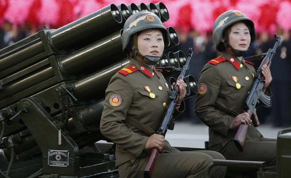 Soldiers pictured during the military parade for the 70th anniversary of the founding Workers' Party, Pyongyang, North Korea - Saturday 10 October 2015