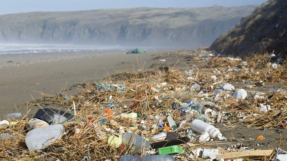 plastic waste on Penhale beach Cornwall
