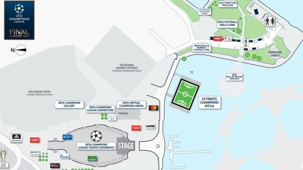 Map of the UEFA Champions League Festival map