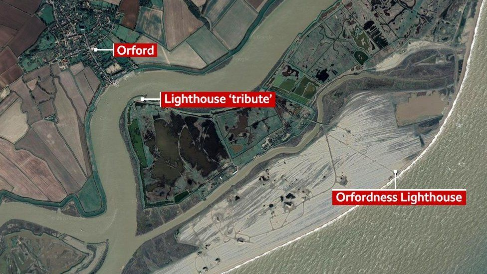 Map showing where a tribute to the lighthouse will be built closer to the village of Orford
