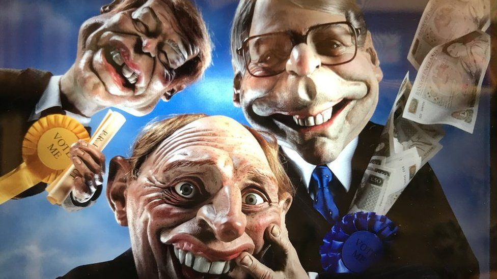 Spitting Image puppets of (left-to-right) Paddy Ashdown, Neil Kinnock and John Major