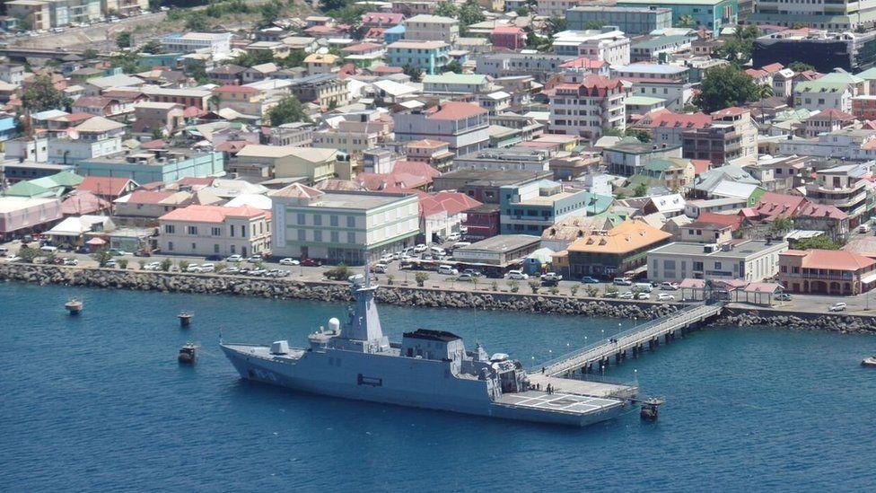 A Venezuelan ship can be seen docked off Roseau in September 2015