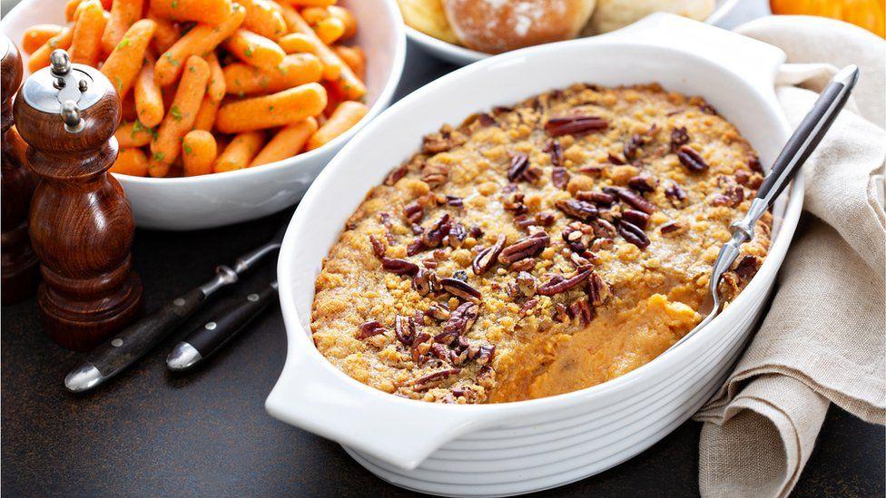 Sweet potato and pecan dish