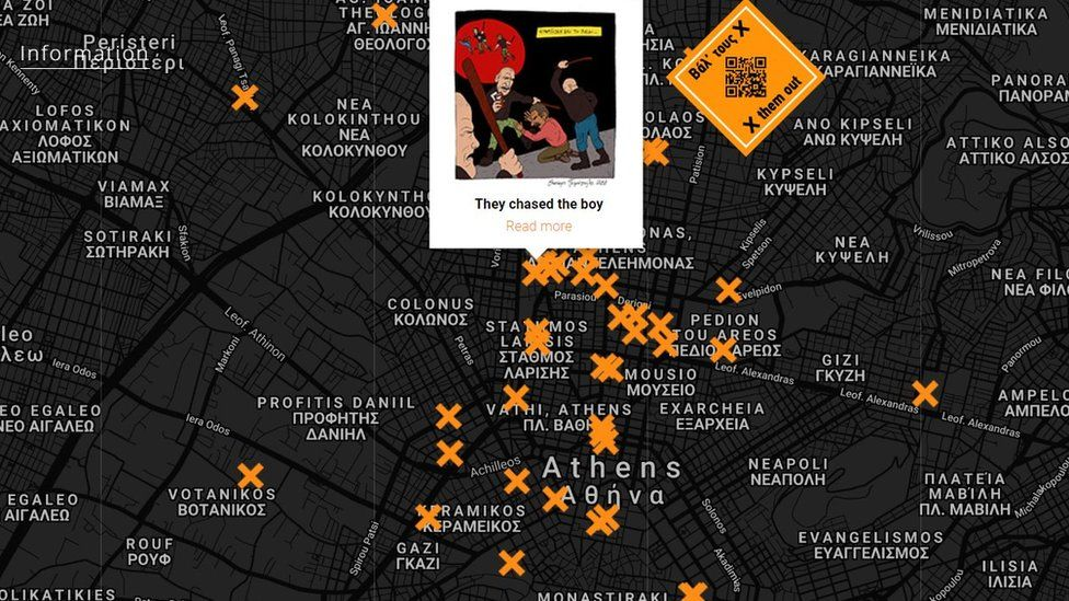 Map of race attacks in Athens