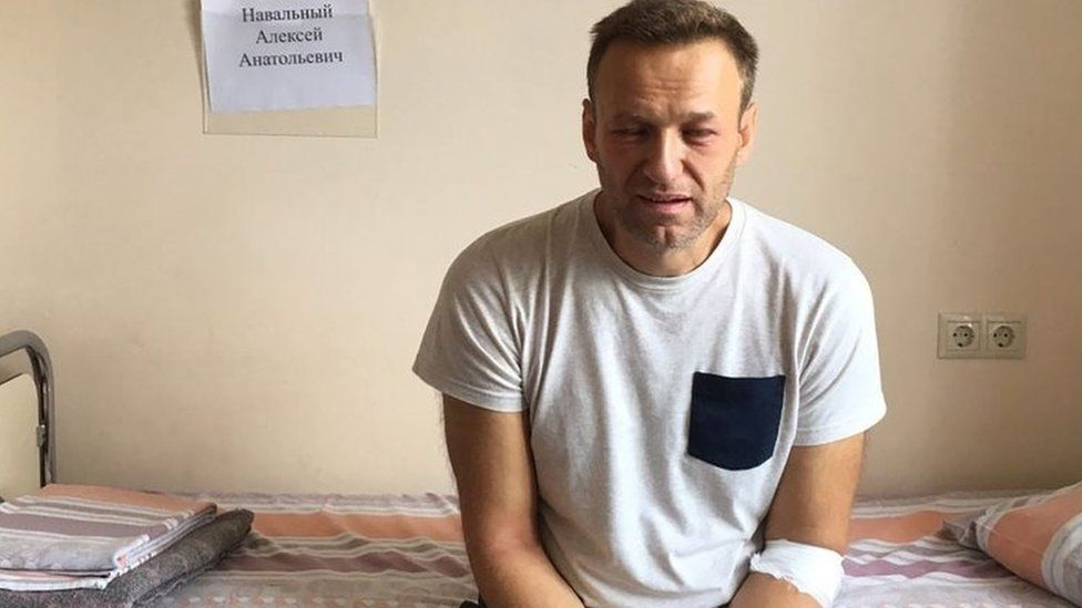 Opposition leader Alexei Navalny sitting on a hospital bed in Moscow. Photo: 29 July 2019