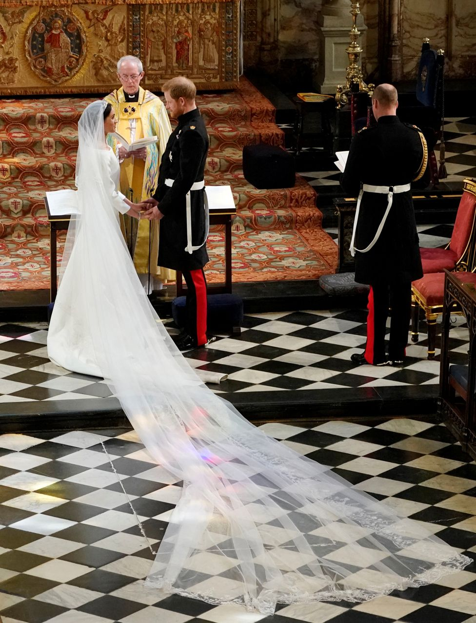 "Meghan Markle in St George""s Chapel at Windsor Castle during her wedding to Prince Harry"