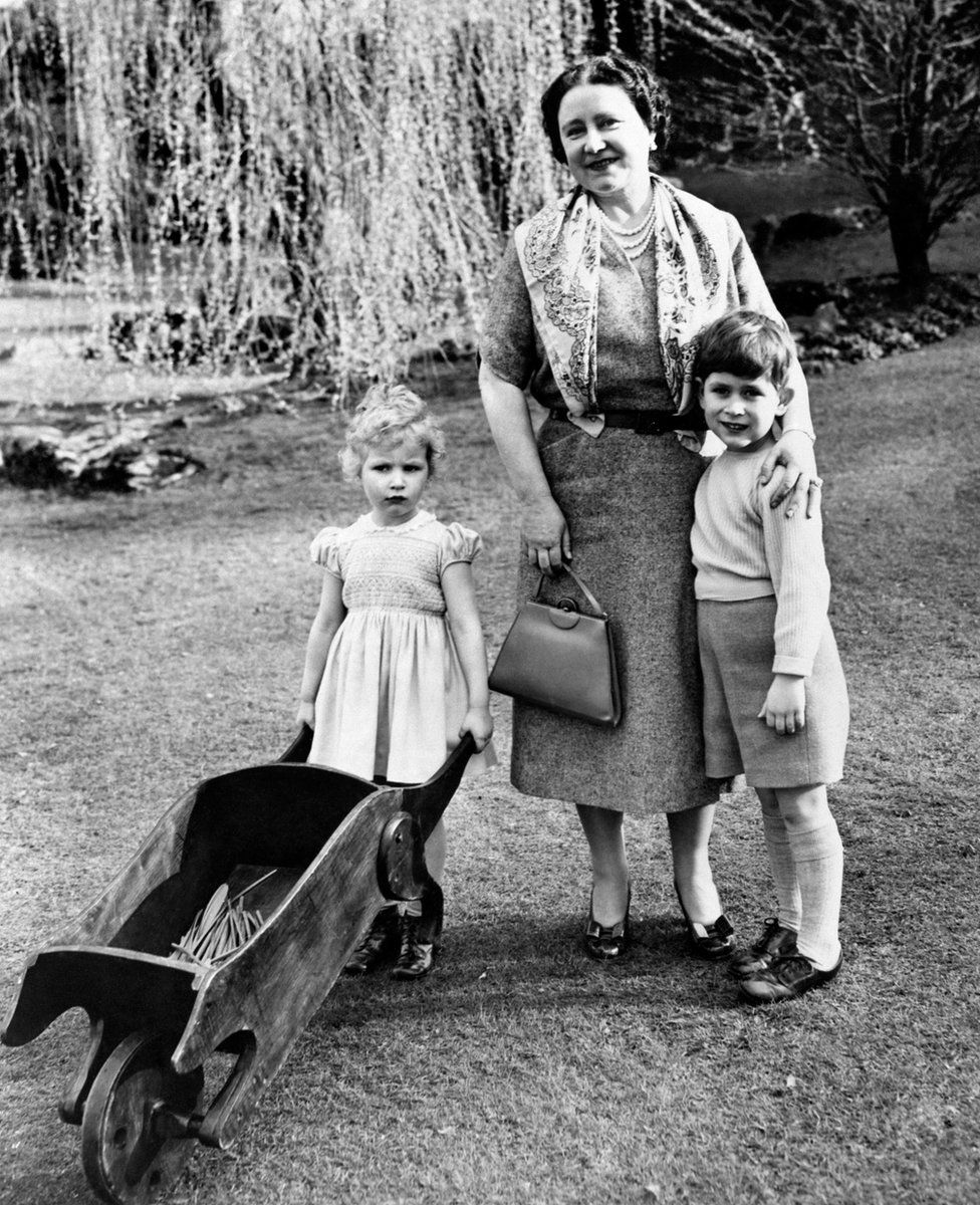Princess Anne and Prince Charles with their grandmother, the Queen Mother