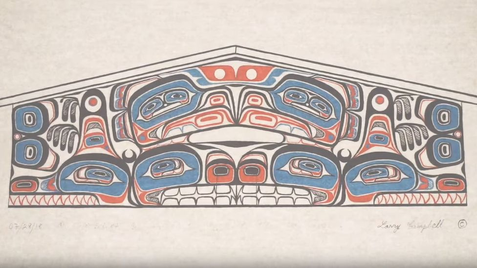 Artwork on Heiltsuk Nation communal longhouse, Canada