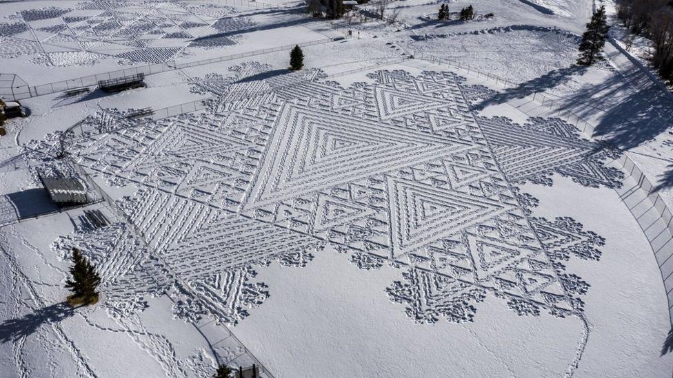 Snowshoe artist Simon Beck's vast snow art in Colorado