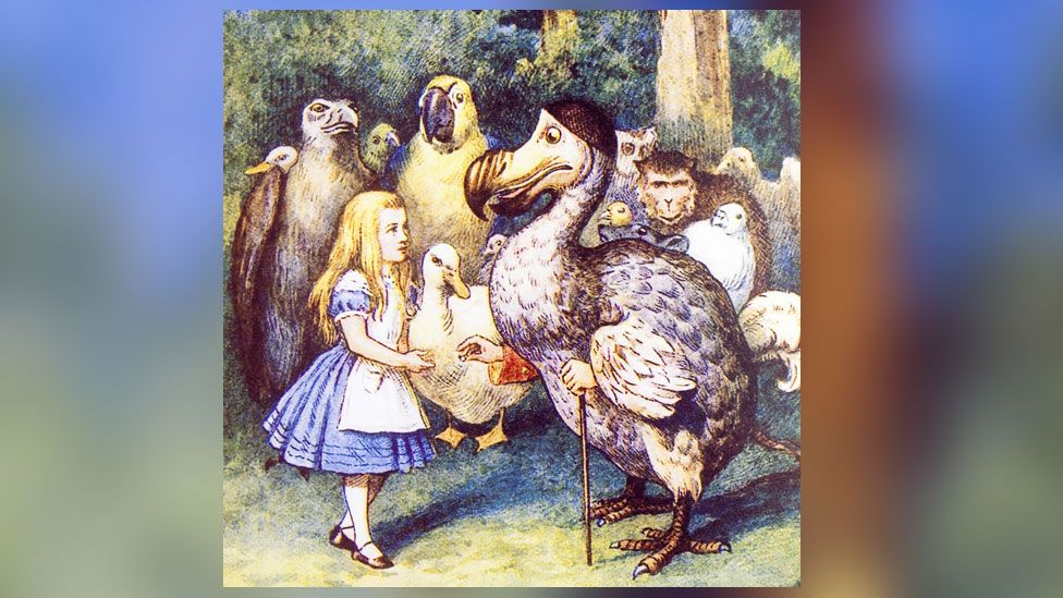 Alice and a dodo from Alice In Wonderland