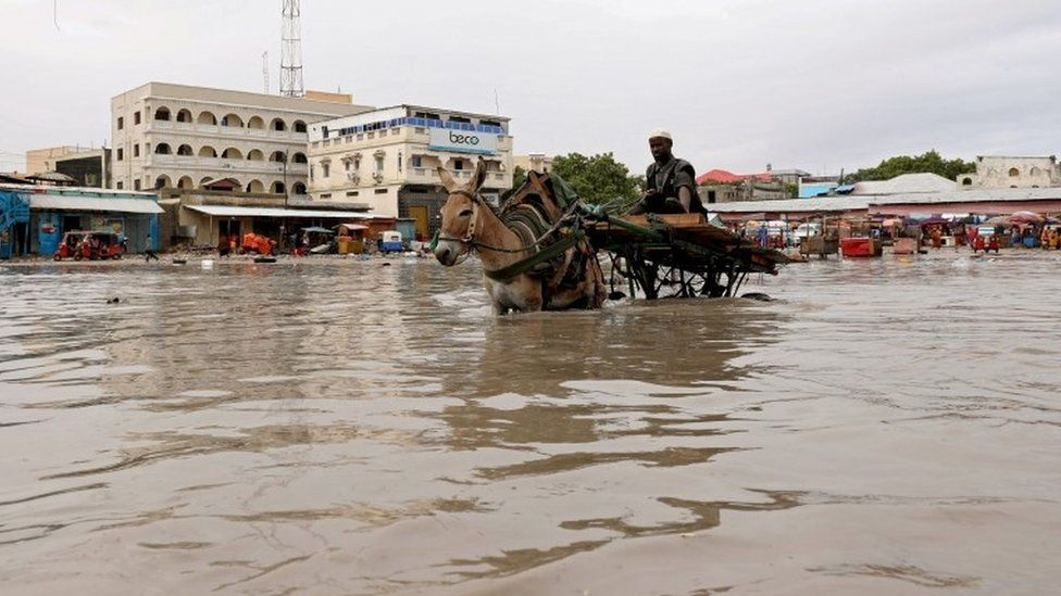 A donkey pulls a cart as they wade through a flooded street in Hamerweyne district of Mogadishu, Somalia May 20, 2018
