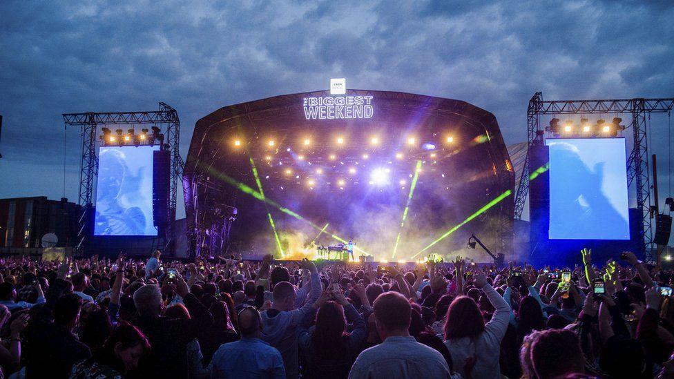 Underworld performing in Belfast