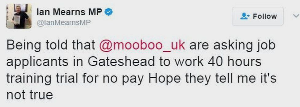 Critical comment about Mooboo on Twitter