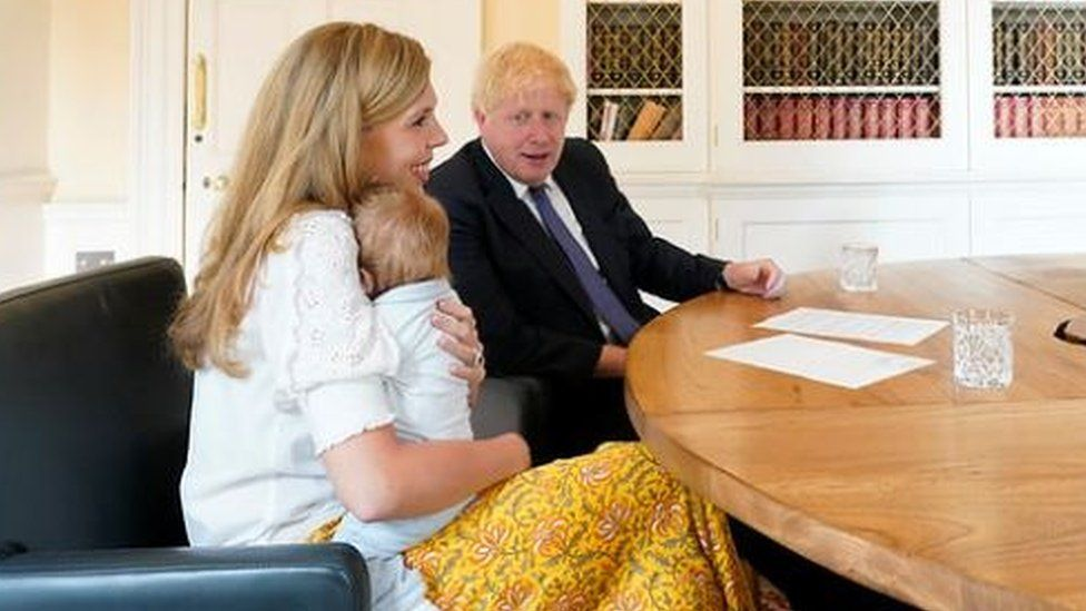 Boris Johnson and Carrie Symonds with baby Wilfred