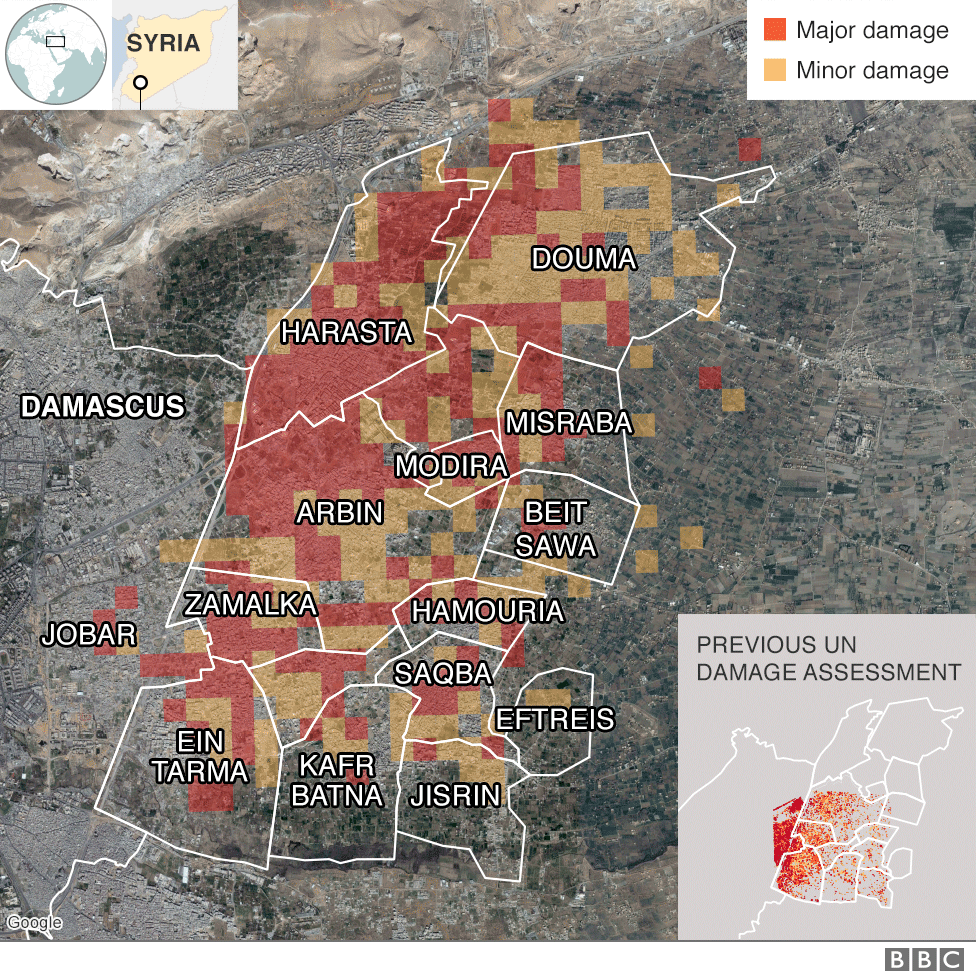 Map showing damage levels in Eastern Ghouta, Syria, from December to February