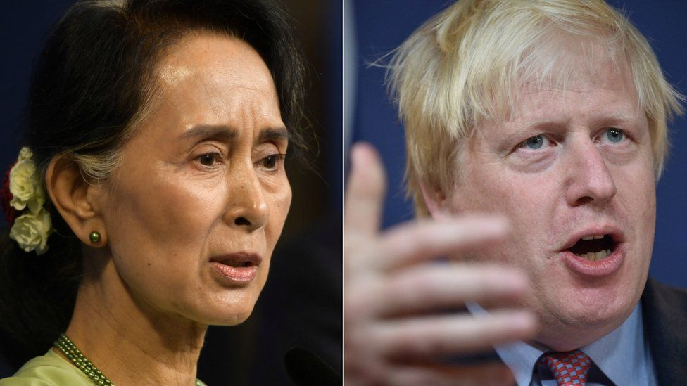 Aung San Suu Kyi and Boris Johnson