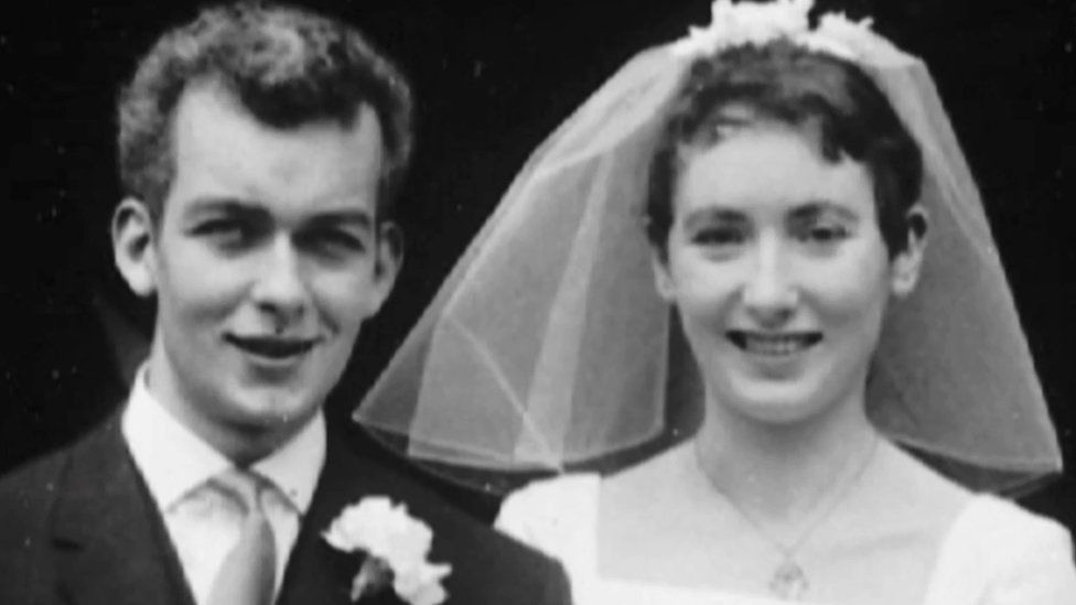 Andrew Davies and wife on their wedding day- a black and white photo