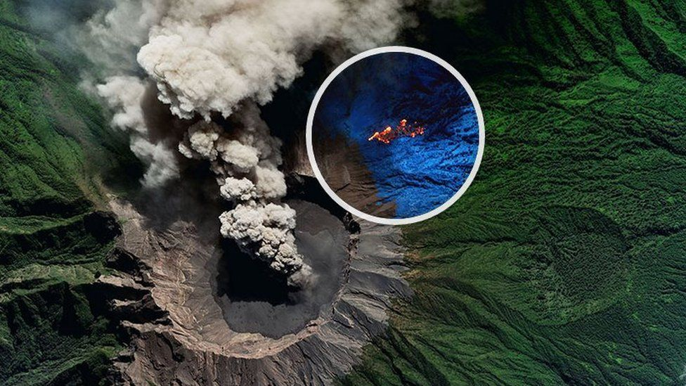 Volcano with nearby wildfire highlighted