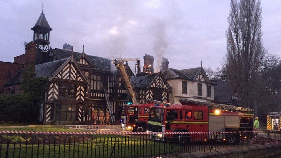 Wythenshawe Hall on fire