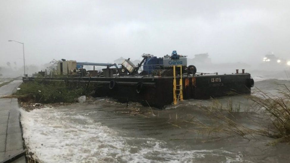 One of the barges that broke free in Pensacola, Florida