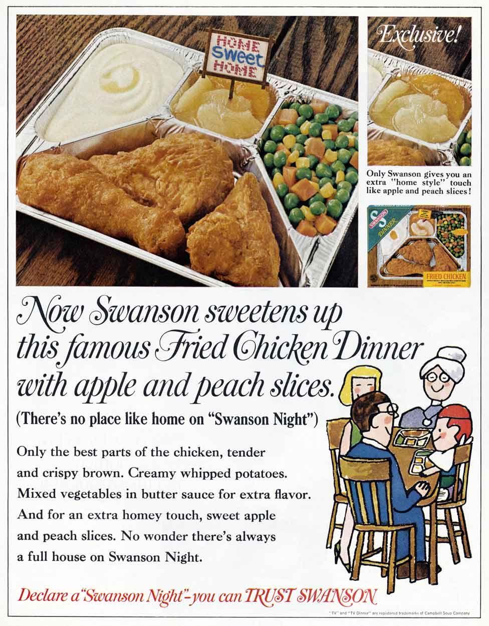 An advert for a Swanson TV dinner
