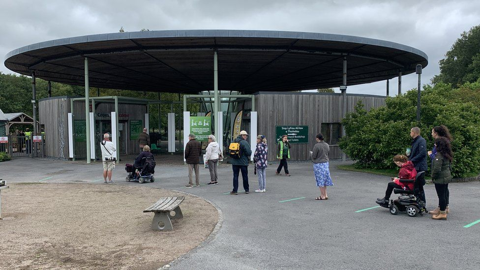 Visitors queue for the National Botanic Garden of Wales